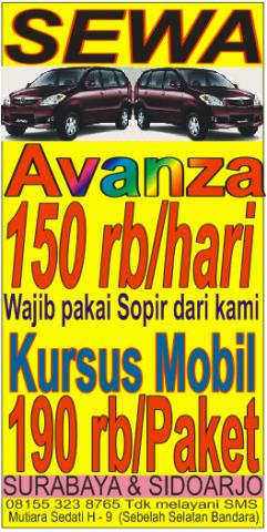 Sewa Mobil Avanza 150 Ribu Hari Surabaya Sidoarjo Nyewain
